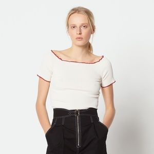 New Sandro 2 Ouma Ribbed Cropped Knit Top Red Trim